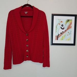 J. Jill cable knit cardigan sweater with buttons